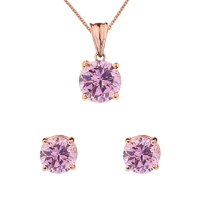 10K Rose Gold  October Birthstone Pink Cubic Zirconia  (LCPZ)Pendant Necklace & Earring Set