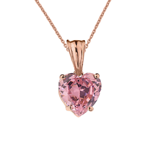 10K Rose Gold Heart October Birthstone Pink Cubic Zirconia  (LCPZ) Pendant Necklace