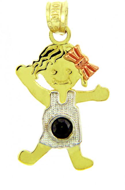 Girl Tri Tone Gold Girl Birthstone Charm w/ CZ Dark Emerald