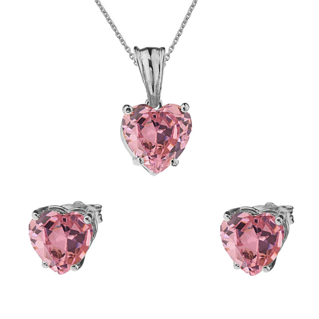 10K White Gold Heart October Birthstone Pink Cubic Zirconia  (LCPZ) Pendant Necklace & Earring Set