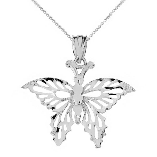 Solid White Gold Filigree Diamond Cut Butterfly Pendant Necklace
