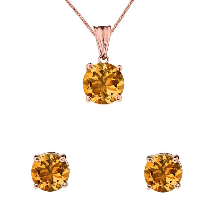 10K Rose Gold November Birthstone Citrine (LCC) Pendant Necklace & Earring Set