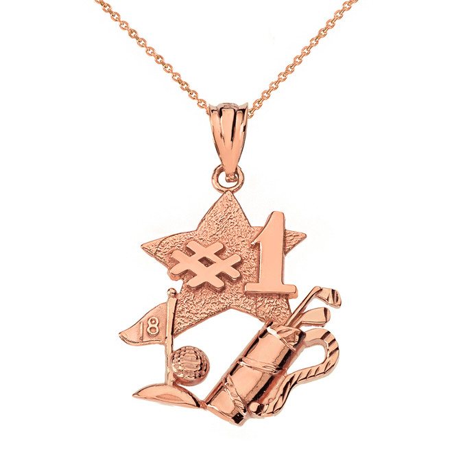 Solid Rose Gold Number One Golfer Pendant Necklace