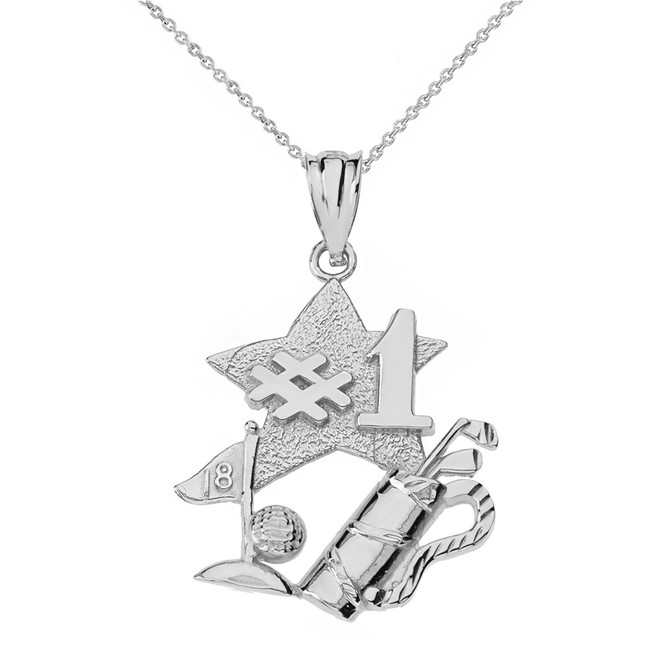 Solid White Gold Number One Golfer Pendant Necklace