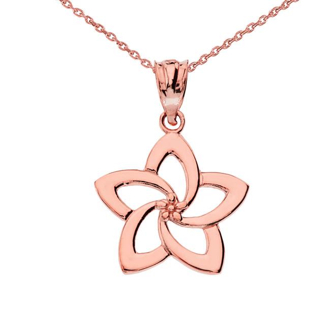 Rose Gold Flower Pendant Necklace