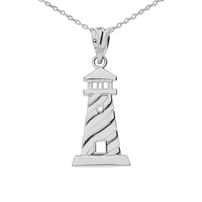 White  Gold Lighthouse Pendant Necklace