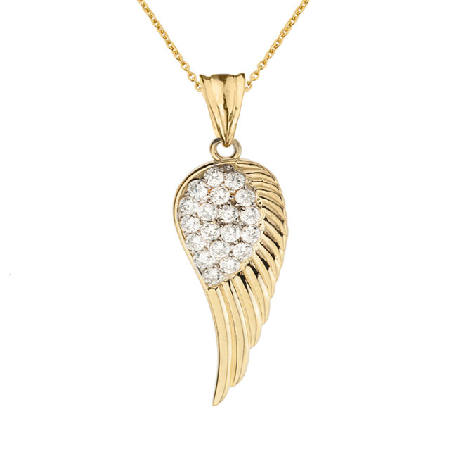 Elegant Yellow Gold  CZ Angel Wing  Pendant Necklace