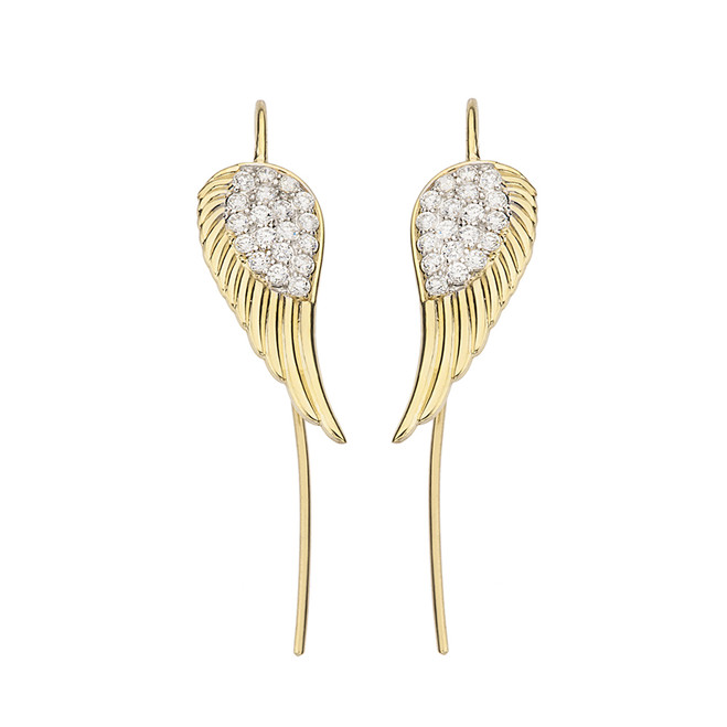 Yellow Gold Diamond Threader Fish Hook Angel Wings Earrings