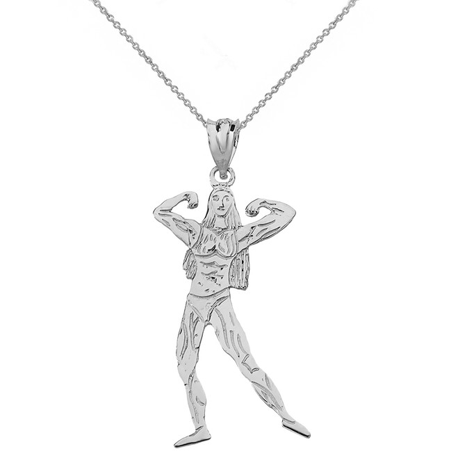 Sterling Silver Weightlifting Fitness Sport Female Bodybuilder Pendant Necklace