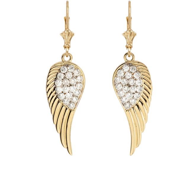 Yellow Gold Diamond  Angel Wings Leverback Earrings