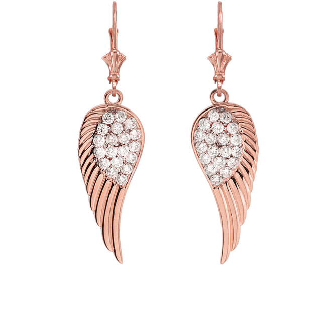 Rose  Gold Diamond  Angel Wings Leverback Earrings