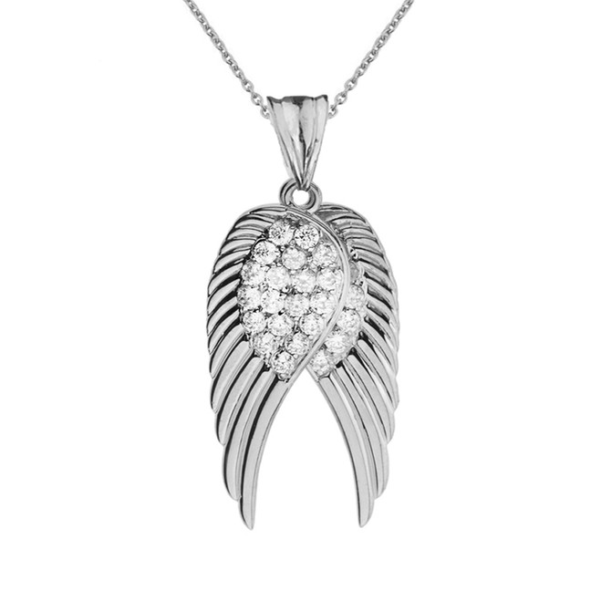 Two  Elegant White  Gold Diamond  Angel Wings  Pendant Necklace