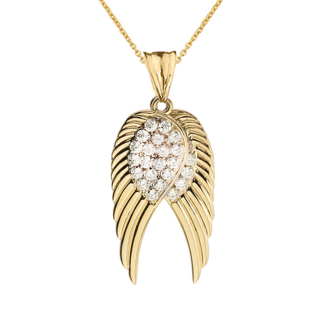 Two  Elegant Yellow Gold CZ Angel Wings  Pendant Necklace