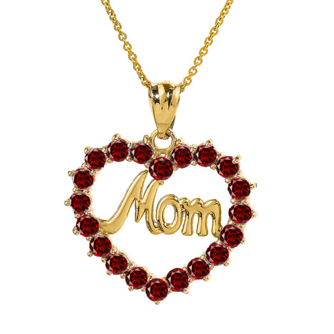 "Yellow Gold ""Mom"" Garnet (LCG) Open Heart Pendant Necklace"