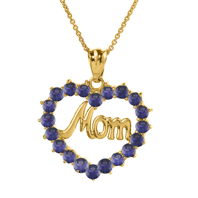 """Yellow Gold """"Mom"""" Amethyst (LCAM) Open Heart Pendant Necklace"""