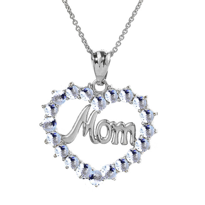 "Sterling Silver  Gold ""Mom"" Aquamarine  (LCAQ) Open Heart Pendant Necklace"