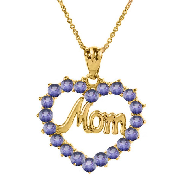 "Yellow Gold ""Mom"" Alexandrite (LCAL) in Open Heart Pendant Necklace"