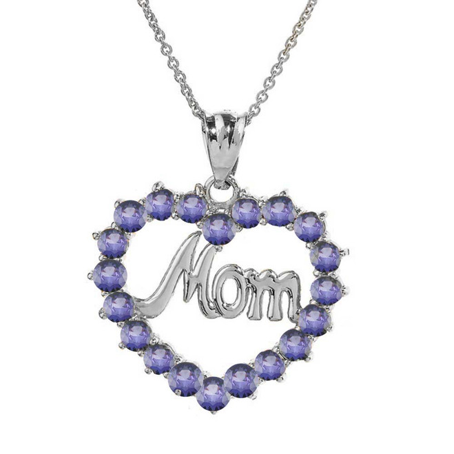 "White  Gold ""Mom"" Alexandrite (LCAL) in Open Heart Pendant Necklace"