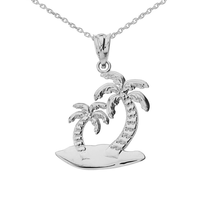White Gold Palm Tree Pendant Necklace