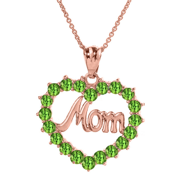 "Rose  Gold ""Mom"" Peridot  (LCPE) in Open Heart Pendant Necklace"