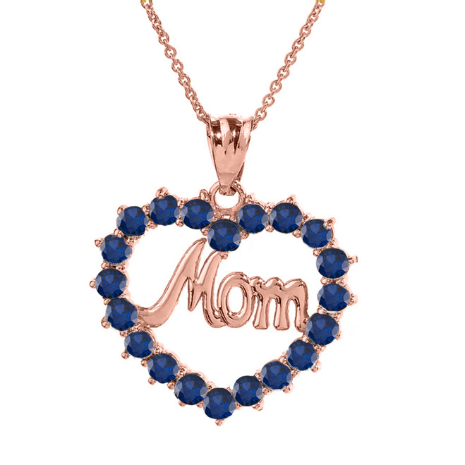"Rose  Gold ""Mom""Sapphire (LCS) in Open Heart Pendant Necklace"