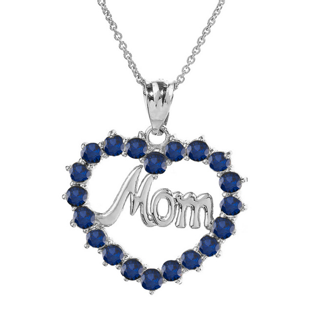 "White  Gold ""Mom""Sapphire (LCS) in Open Heart Pendant Necklace"