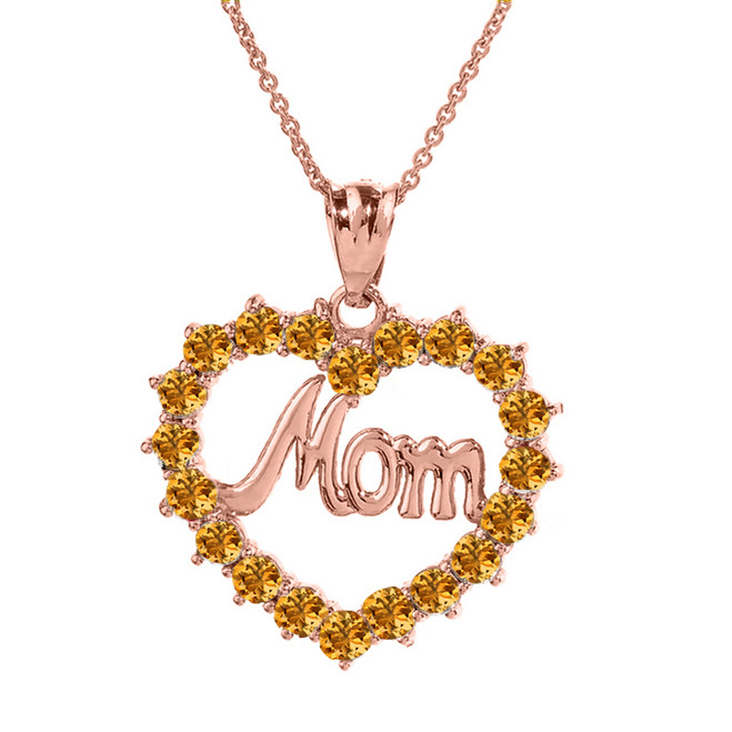 "Rose  Gold ""Mom"" Citrine (LCC) in Open Heart Pendant Necklace"