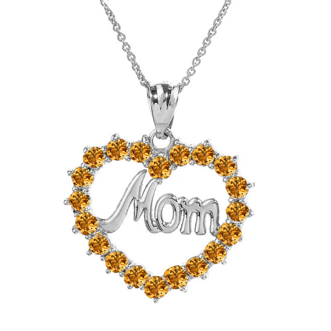 "Sterling Silver  ""Mom"" Citrine (LCC) in Open Heart Pendant Necklace"