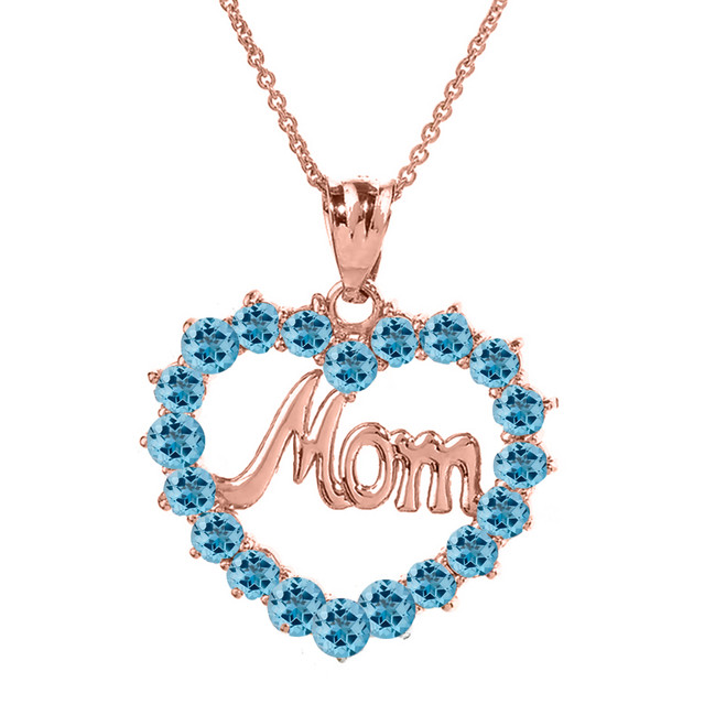 "Rose  Gold ""Mom"" Blue Topaz  (LCBT) in Open Heart Pendant Necklace"