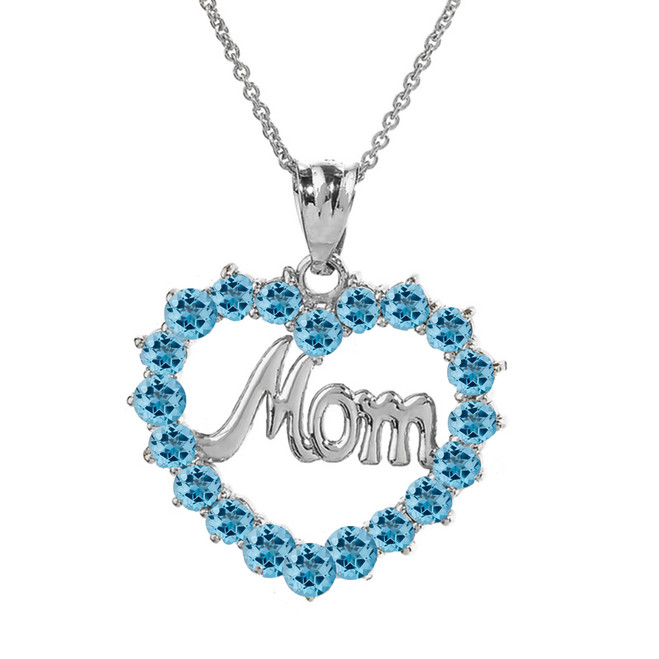 "White Gold ""Mom"" Blue Topaz  (LCBT) in Open Heart Pendant Necklace"