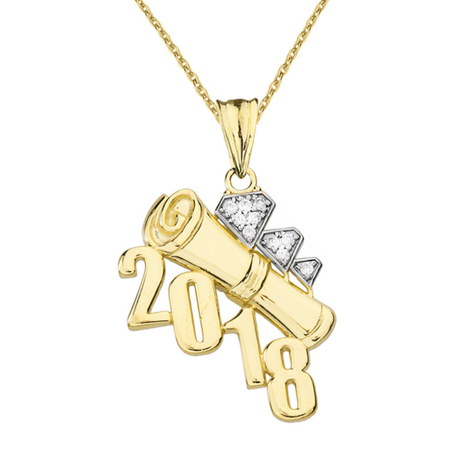 Yellow Gold Diamond Two-Tone Diagonal Class of 2018 Graduation Diploma Pendant Necklace