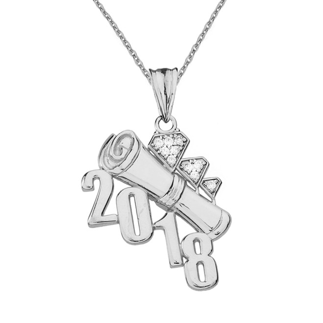Sterling Silver CZ Diagonal Class of 2018 Graduation Diploma Pendant Necklace