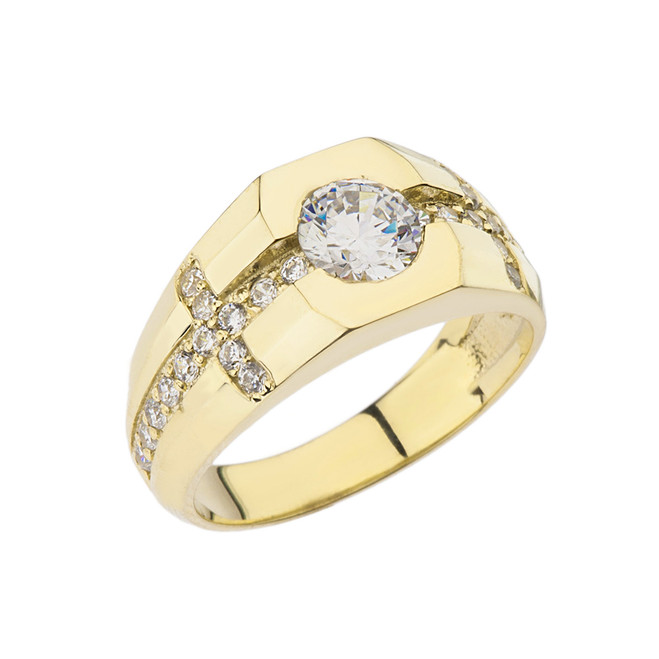 Mens Yellow Gold Cubic Zirconia Cross Ring
