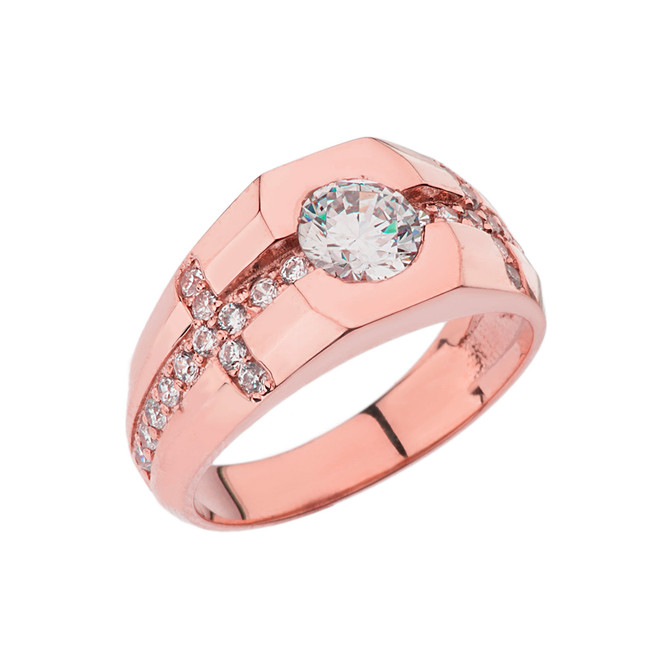 Mens Rose Gold Cubic Zirconia Cross Ring