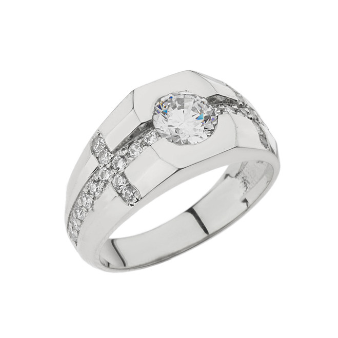 Mens White Gold Cubic Zirconia Cross Ring