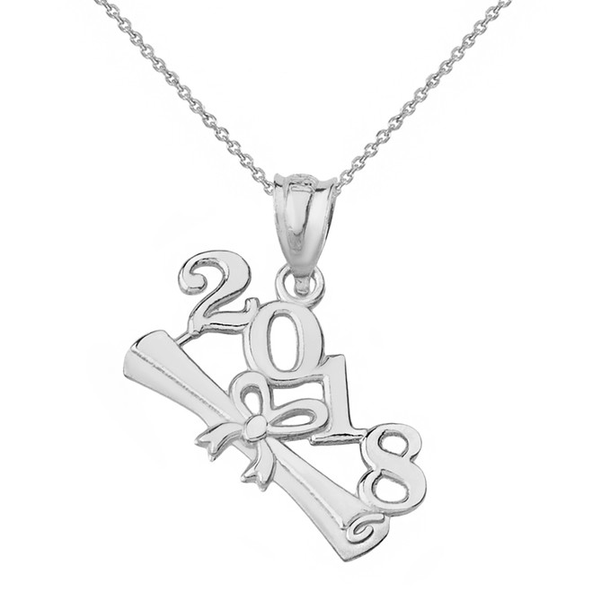 Sterling Silver Class of 2018  Diploma Pendant Necklace