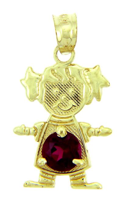 CZ Round Red Stone Baby Girl Birthstone Charm