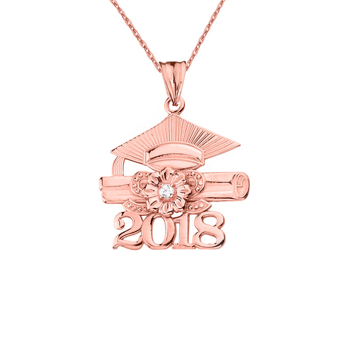 2018 Graduation Pendant Necklace with Diamond and Rose Gold
