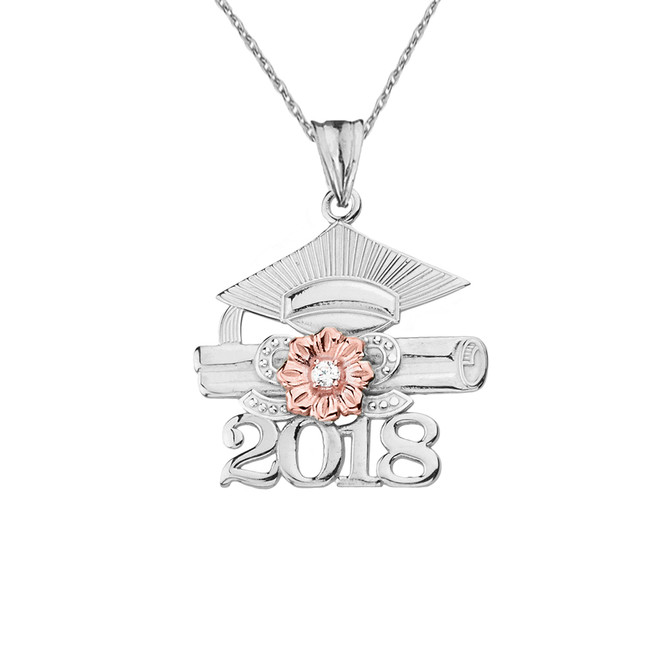 2018 Graduation Pendant Necklace with Diamond and Two-Tone Gold