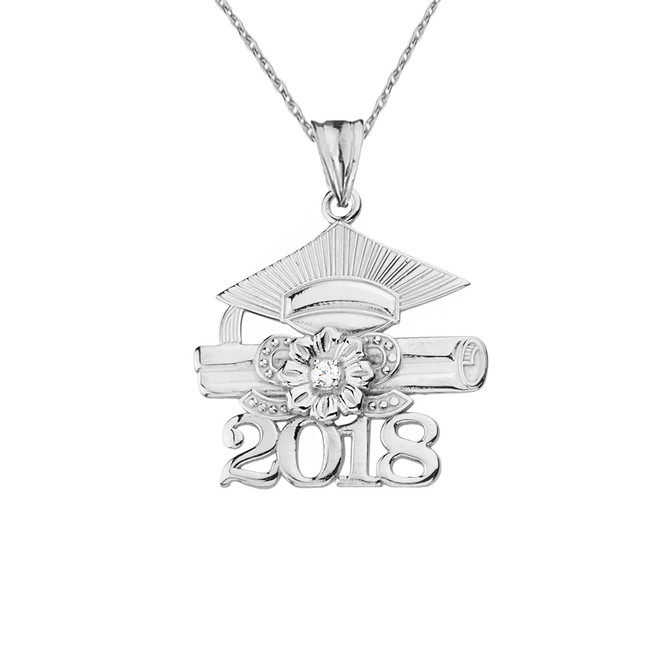 2018 Graduation Pendant Necklace with Diamond and Sterling Silver