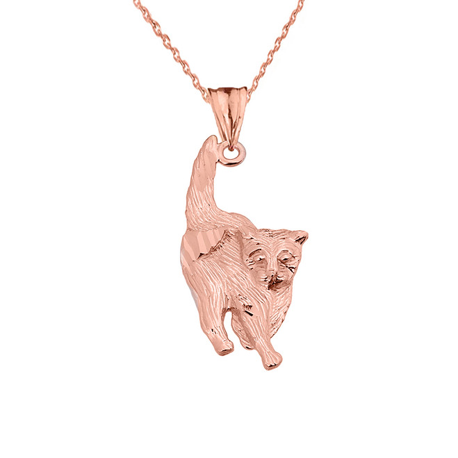 Textured Rose Gold Walking KityKat Pendant Necklace