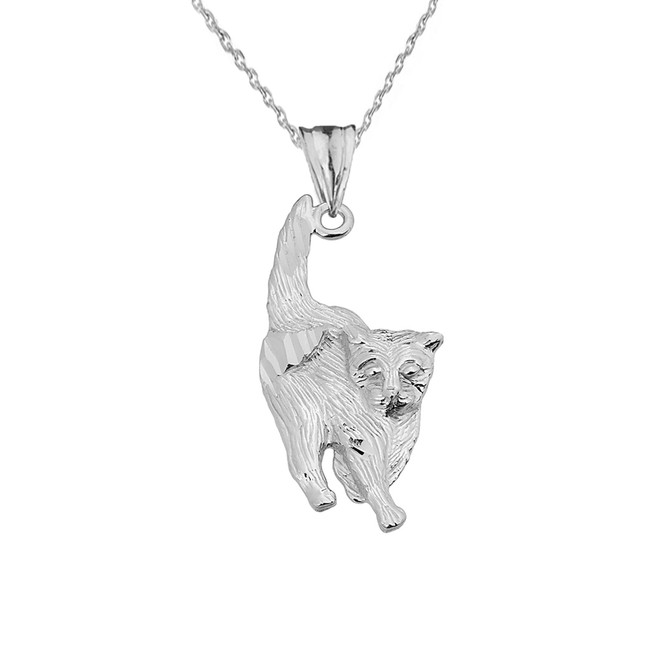 Textured White Gold Walking KityKat Pendant Necklace