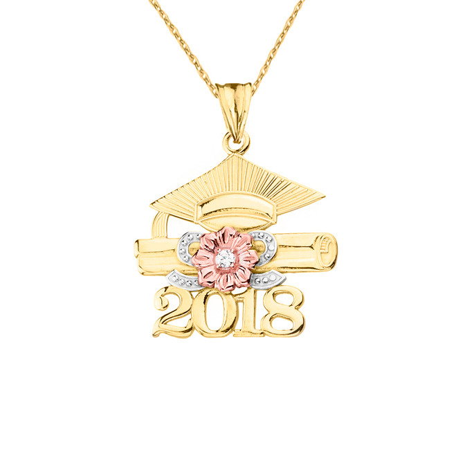 2018 Graduation Pendant Necklace with Diamond and Tri-Tone Gold