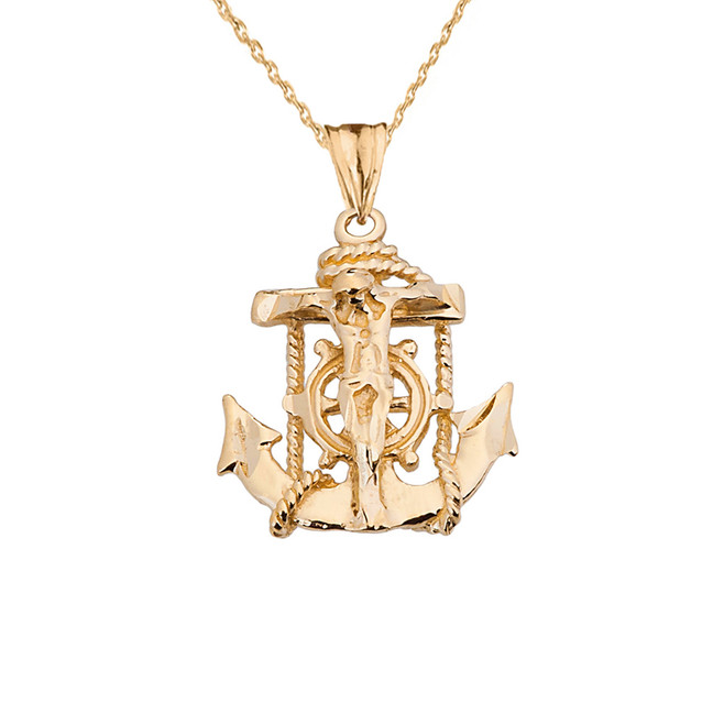 Small Yellow Gold Anchor Crucifix Pendant Necklace