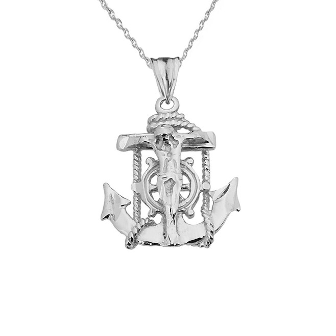 Small White Gold Anchor Crucifix Pendant Necklace