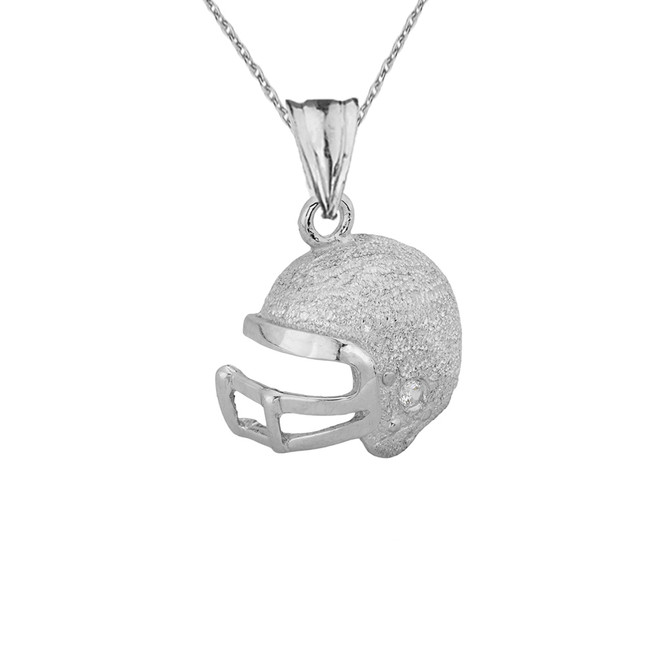 Textured Sterling Silver Diamond Football Player Helmet Pendant Necklace