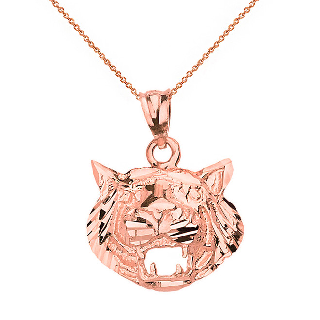 Solid Rose Gold Diamond Cut Roaring Tiger Head Pendant Necklace