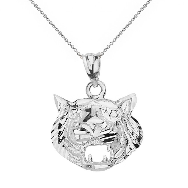 Solid White Gold Diamond Cut Roaring Tiger Head Pendant Necklace