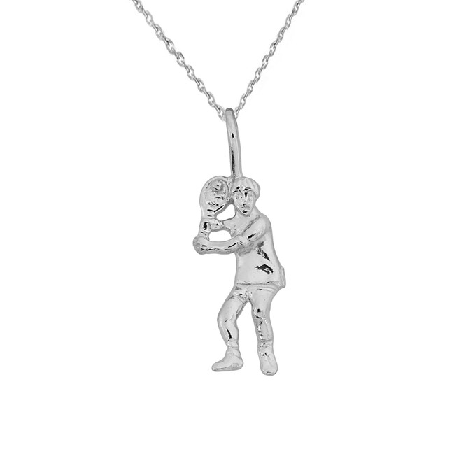 Sterling Silver Tennis Player Pendant Necklace