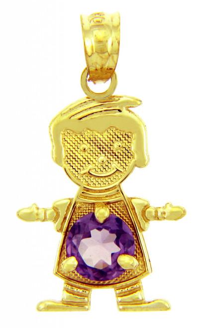 CZ Purple Amethyst February Birthstone Charm